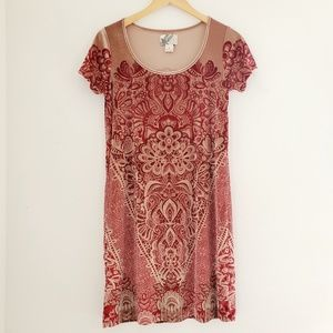 Holly Hock by Lucky Brand Red and Tan Velvet Dress